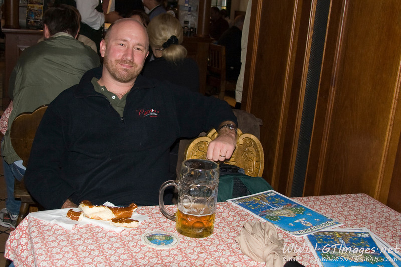 Munich, Germany - Enjoying a beer and pretzel at the Hofbrauhaus. The Bavarians make the best pretzels, period.