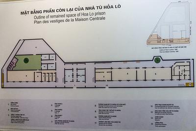Map of the Hoa Lo Prison (Hanoi Hilton) in Hanoi