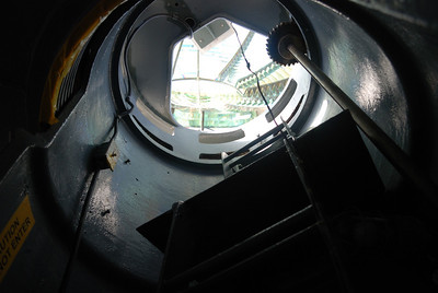 Looking up into the lens from the third level