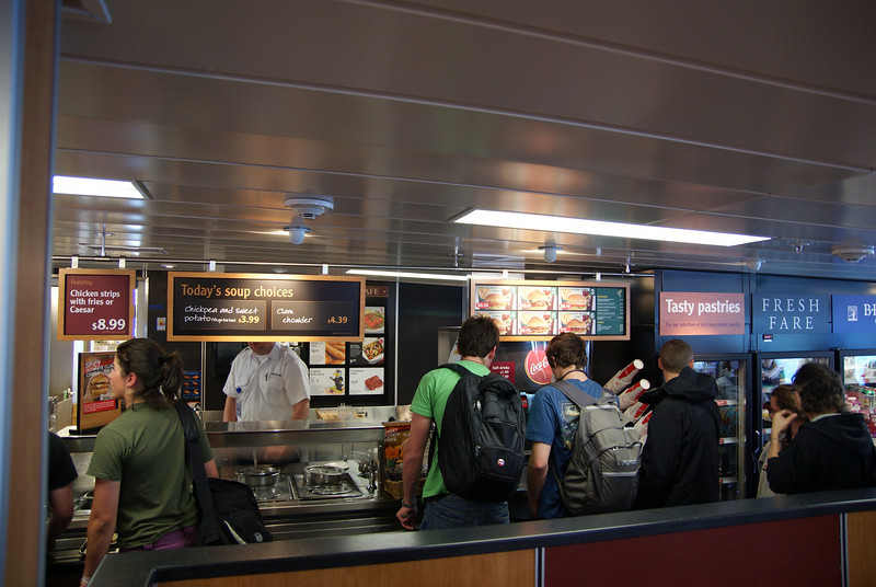 Food line-up at the cafeteria.