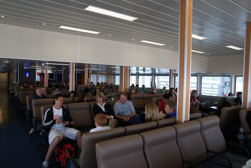 Forward lounge, including the high ceiling in the forward-most part, beneath the bridge.