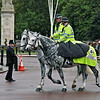 Police on horseback before the Changing of the Guard Ceremony at Buckingham Palace.