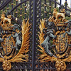 Closeup of the gate that leads to the front courtyard of Buckingham Palace.