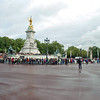A crowd grows around the Victoria Memorial before the Changing of the Guard Ceremony.