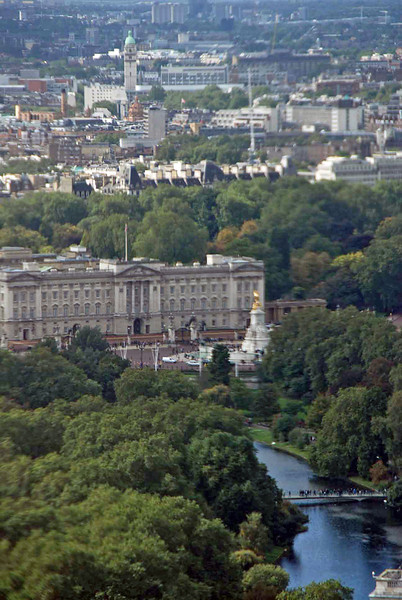 Buckingham Palace as viewed from the London Eye.