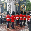 The Queen's Guards enter the Buckingham Palace Gate.