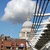 The Millennium Bridge crosses the Thames from St. Paul's to the Tate Museum.
