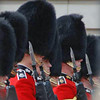 The Queen's Guard in formation in the courtyard of Buckingham Palace.