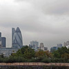 """A view from Tower Bridge Road with City Hall on the left looking towards """"the Gherkin"""", a 40-story skyscraper in the financial district."""