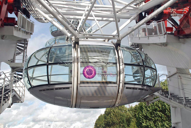 One of 32 air conditioned passenger capsules on the London Eye, each can carry up to 25 passengers.