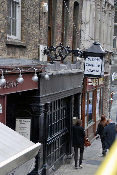 The Olde Cheshire Cheese Pub, on Fleet Street, which was frequented by Charles Dickens, Alfred Tennyson, Mark Twain and Arthur Conan Doyle.