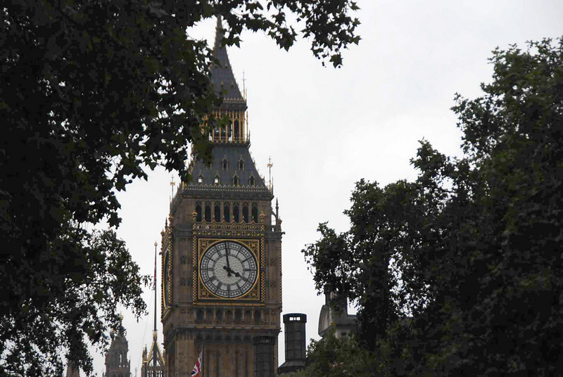Big Ben as seen from the Victoria Embankment along the Thames' north bank.