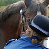 A policewoman converses with a mounted policeman's horse.