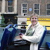 Jean on the top of the double-decker tour bus, first day in London.