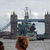 The HMS Belfast, a cruiser from WWII, and the Tower Bridge.