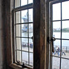 A view of Tower Bridge from inside the Tower of London.