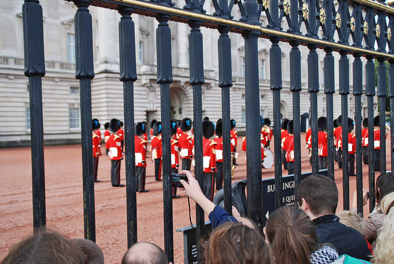 The trumpeters in formation at the start of the Changing of the Guard Ceremony.