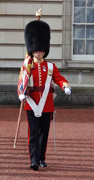 A Queen's Guard marches in front of the formation.