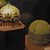 A turkish style crown worn in the early 1600's and it's case of persian silk.