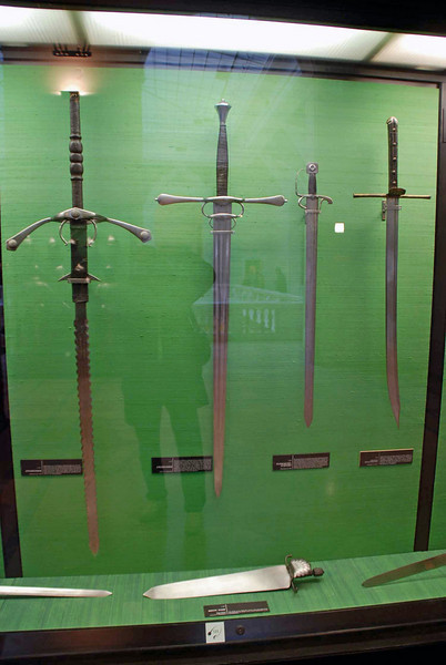 Weapons on display at the Armory Museum.