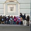A group of school children prepare to tour the Hofburg museums.