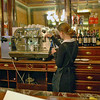 Waitress preparing coffee at Demel's Cafe.