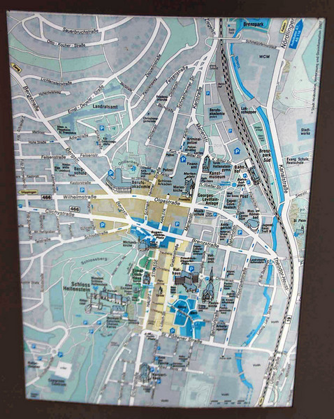 Map of Heidenheim posted at the castle.