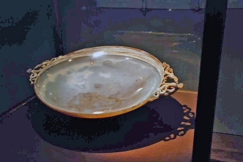 The agate bowl on display at the Treasury Museum.  Harder than steel and constructed from a single stone around the 4th century.