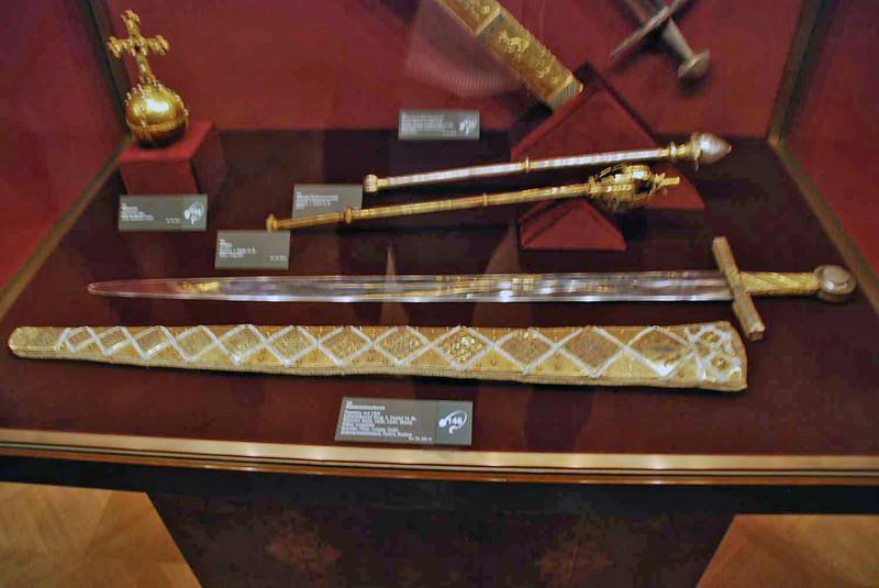 Royal swords and mace on display at the Hofburg Treasury.