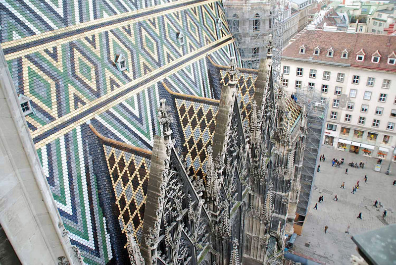 Detail of the roof of St. Stephen's Cathedral, rebuilt in 1955.