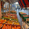 The local food market displays its produce on the Heidenheim sidewalk.