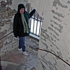 Jean Finkleman on the tower steps at the Heidenheim castle.
