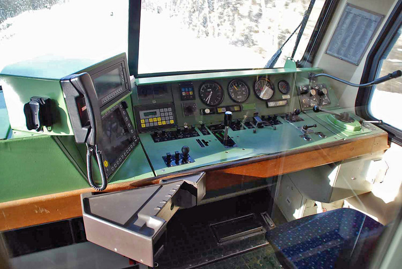 The train conductor's controls on the train to Ulm.