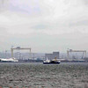 """A view of """"Samson and Goliath"""" the cranes used to build the Titanic in Belfast."""