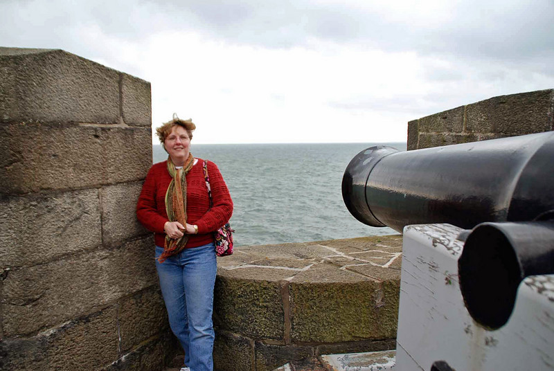 Jean bravely faces the cannon at Carrickfergus Castle.
