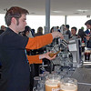 A bartender pours two pints of Guinness at the Galaxy Bar, Guinness Storehouse.