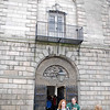 The entrance to Kilmainham Gaol.  Five snakes in chains are portrayed over the doorway.