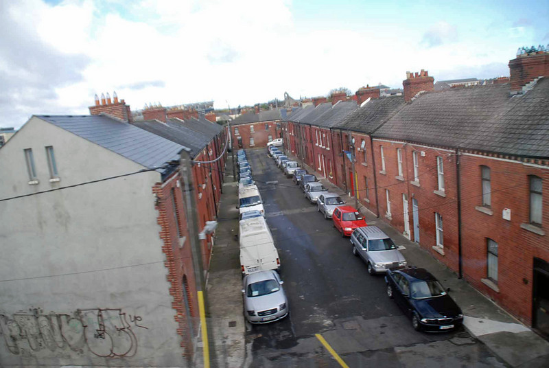 A view of a Dublin street from the train to Belfast.