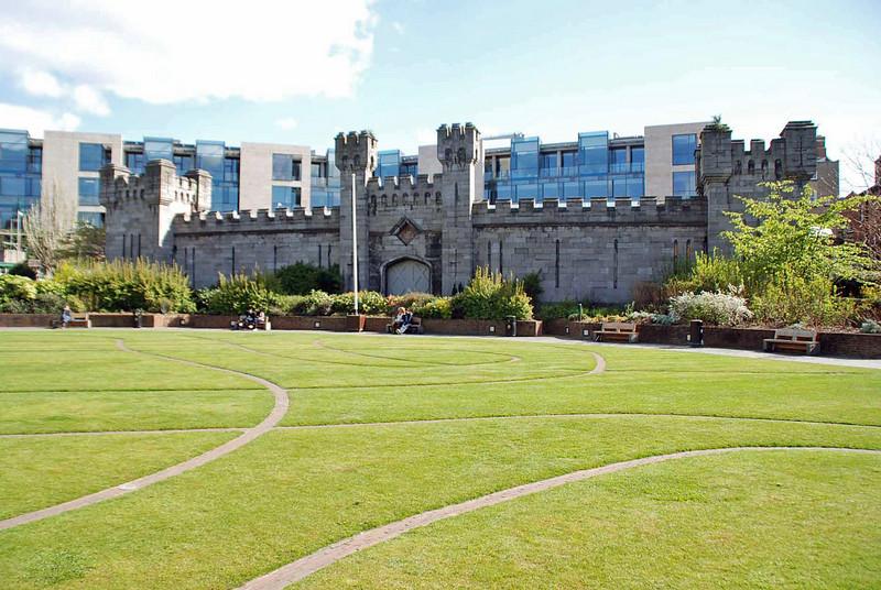 A gate into the garden of Dublin Castle.