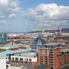 "View of Belfast from the Big Wheel showing the giant gantry cranes used to build the Titanic, ""Samson and Goliath""."