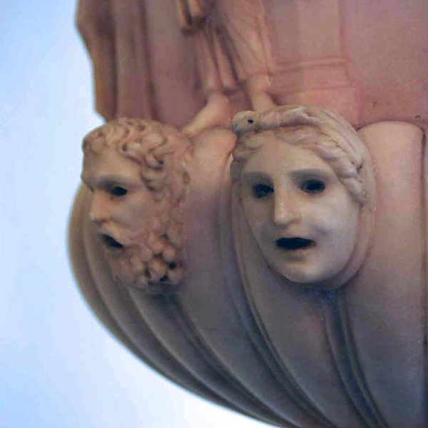 A detail of an urn on display in Dublin Castle.