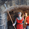 Jean poses with a castle guard at the entrance to Carrickfergus Castle.
