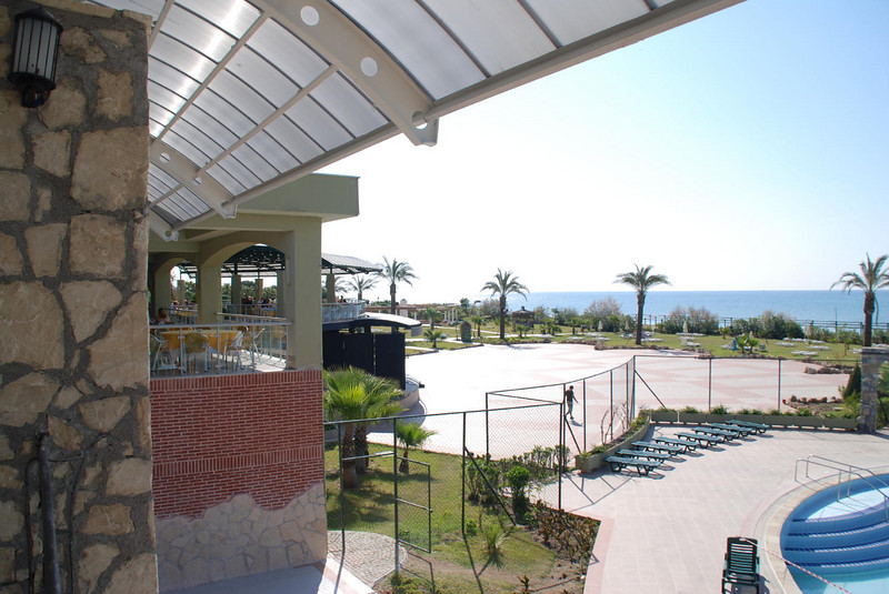 View of the sea and grounds from restaurant dining balcony
