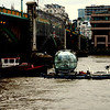 Eye transport..<br /> One of the bubbles on the London eye going out for repair on a tug up the Thames