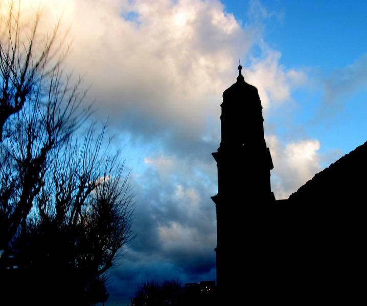 Sorrento church in silhouette.