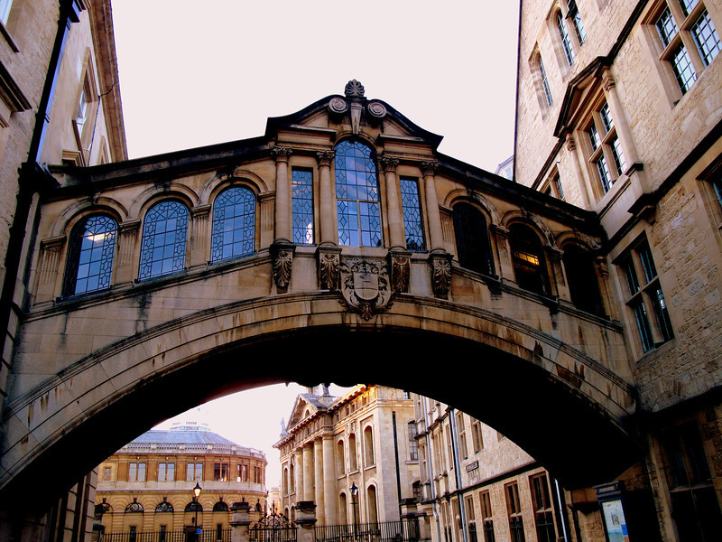 Bridge of Sighs in Oxford, or Hertford Bridge connecting 2 parts of the college over New College Lane in Oxford, built in 1914..