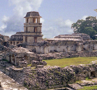 PALENQUE, MEXICO - The Palace cluster took on its present form after any number of architectural modifications over more than 400 years. The cluster is dominated by a four-tier watchtower, inside of which is a stairway to the top.