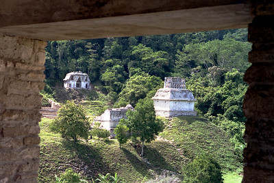 "PALENQUE, MEXICO - Chan Bahlum, Pacal's eldest son and successor, continued his father's aggressive building program. The three temples known as the ""Cross Group"", located on a hillside just south of the main plaza, are among the most elegant of all Maya architecture."