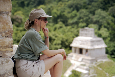 PALENQUE, MEXICO - Pausing at the top of the Temple of the Foliated Cross, Jeanne had an opportunity to ponder the amazing structures of the Maya.