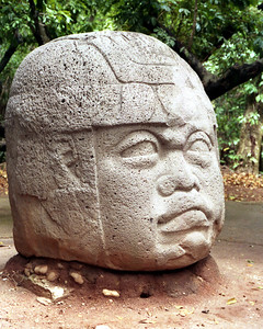 VILLAHERMOSA, MEXICO - This monolithic sculpture of basalt weighs around 25 tons.  It was sculpted between 1000 and 800 BC and probably represents an Olmec king wearing a helmet perhaps for a ritual ballgame played by the Olmecs and later by the Maya.